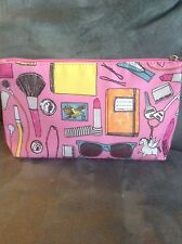 """CLINIQUE PINK PRINTED SMALL 9 1/2"""" COSMETIC MAKE UP BAG - NEW WITHOUT TAGS"""