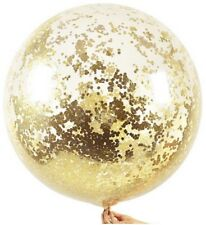 Giant 90cm Metallic Gold Glitter Confetti Balloon Clear Wedding Baby Shower