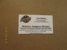 AHL Norfolk Admirals Vintage Defunct Logo Business Card