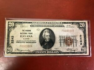1929 $20 DOLLAR *LOW SERIAL** HAVANA NATIONAL BANK NOTE CURRENCY PAPER MONEY