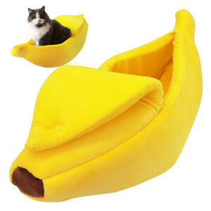 Pet Dog Cat Bed Banana Shape House Fluffy Warm Soft Sleep Plush Bed Nest Kennel