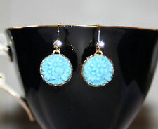 Vintage Japan Turquoise pressed carved etched glass floral dangle earrings