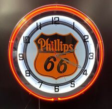 "18"" PHILLIPS 66 Gasoline Motor Oil Gas Station Sign Double Neon Clock"