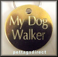 Pet ID Med/Lge (32mm) Engraved Solid METAL or BRASS Dog IDENTITY Disc/Tag Medal