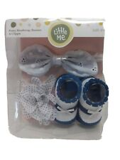 Little Me Fancy Blue White Headwrap, Booties & Bow Clippie Gift Set 0-12 Months