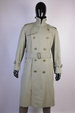 Men's Burberry Vintage Light Green Double Breasted Belted Trench Coat Size 50