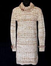 MIU MIU Sz 44 Sweater Dress Thick Wool Knit Beige Brown Belted Turtleneck EUC