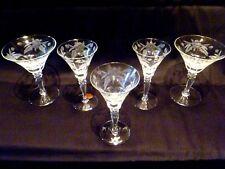 5 Vintage ARCADIA CRYSTAL Stemware ETCHED FLORAL Art Glass WINE Goblets HUNGARY