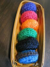 Nylon Pot Scrubbers, Scrubbies, Handmade, Crocheted, Pack of 6 Assorted Colors