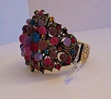Bracelet Wide Brass Cuff Colorful Crystal Ball Gem Cluster Hinge Bangle NWT G345