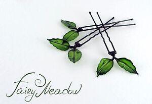 Small Green Leaves Hair Pins Set of 3 Handmade Resin Kanzashi Clip Fairy Magical