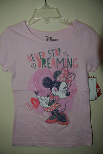 New Disney Minnie Mouse Dreaming Never Stop Kids Girls T-shirt Tee Pink 6