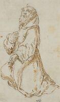 Italienischer Altmeister, Betender Mönch, 17.Jhd., Federzeichnung