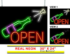 "Animated Wine Bottle Neon Sign | Jantec | 30"" x 24"" 