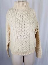 Carraig Donn Wool Aran Cable Knit Fisherman Turtleneck Sweater Womens M Ireland