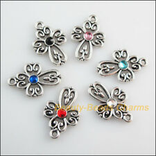 12 New Tibetan Silver Charms Mixed Crystal Heart Cross Pendants 14.5x21.5mm