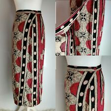 Vintage New Look Women's Skirt Long Wrap Button Red Tile Mosaic Print Blogger 10