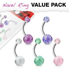 5 Pack of Belly Bar Navel Piercings with Glitter Balls Surgical Steel
