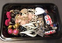 (9) Joblot Bundle Pierced Earrings Dangle Statement Mixed Pairs