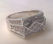 925 Sterling silver Men's simulated diamond ring cluster USA size 9 Australian S