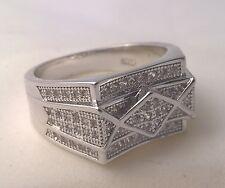 925 Sterling silver Men's simulated diamond ring cluster US size 10 Australian U