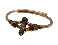 Antique Victorian Gold Filled Hinged Bangle Bracelet with Garnets Etruscan Style