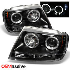 Fits 99-04 Jeep Grand Cherokee Black Bezel Dual Halo Projector LED Headlights