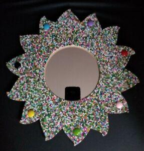 HANDMADE JELLY GEM ENCRUSTED FRAMED MIRROR - sun shaped frame 33cm unique gift