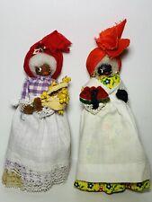 Vintage African American Dolls Wood Feet