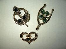 3 Vintage Goldtone Black-Green Celtic Scottish Shamrock-Claddagh Kilt Pins