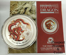 2012 Year of the Dragon 2oz Silver Coloured Australian Coin Perth ANDA Coin Show