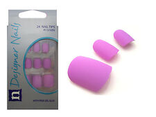 24 FULL COVER FALSE NAIL TIP MATTE LILAC COLOUR NAILS TIPS WITH GLUE
