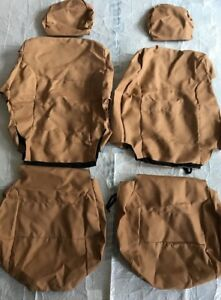 Coverking Custom Seat Covers Front 1 Row Poly Cotton Drill Tan New