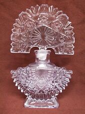 Vintage Ornate Clear Glass Crystal Perfume Bottle Art Deco Fan Shaped Stopper