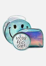 Nwt Justice holo smile travel pouch 3 pack Makeup Tote Case Bag Summer Travel