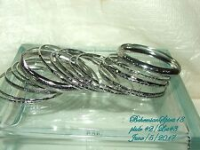 AWESOME ASSORTMENT OF SEVENTEEN EMBOSSED SILVER TONE BANGLES  BRACELETS LOT