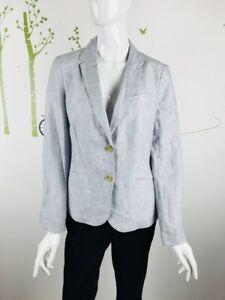 Talbots Womens Size 10 Pin Stripe Button Blazer Lined Long Sleeve Linen Blend