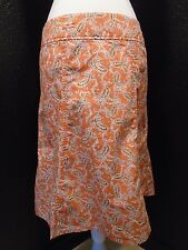 "Eddie Bauer Coral/Orange Paisley A-Line Cotton Skirt, Petite 6 (32"" Waist) -E-"