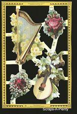 Mamelok English Scrap Die Cut-  Flowers & Musical Instruments  (Archives) A76