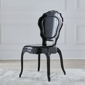 NICHES Black Gloss French Style V2 Dressing Room Dining Chair Louis Chair