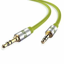 IBRA® 10M 3.5mm Stereo Headphone Audio Jack to Jack/ AUX Gold Cable -Wired Green