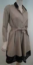 PAULE KA Beige Cotton Stretch & Black Lace Trim Belted Shirt Coat Dress 36 UK8