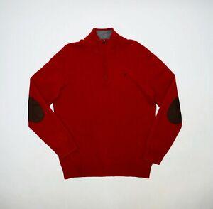 Men's HACKETT London Red Lambswool Elbow Patch Half-Zip Jumper Size M