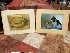 Lot of 2 Vintage Matted Foil Prints 1 Mouse in Hammock + 1 of Kittens