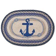 Blue Anchor 20x30 Hand Printed Oval Braided Floor Rug - Jute