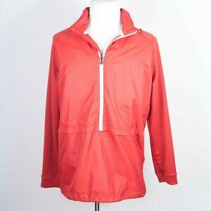 Nike Golf Red Pullover Zip Lightweight Windbreaker Hoodie w/ Packable Hood Large