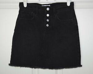 Girl's Old Navy High Waisted Denim Frayed Hem Mini Skirt Button Fly Black 10-12