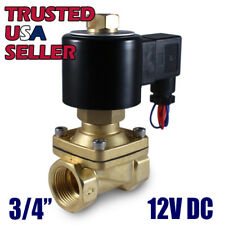 "3/4"" 12V DC NORMALLY OPEN Electric Brass Solenoid Valve 12 Volts DC, N/O, Water"