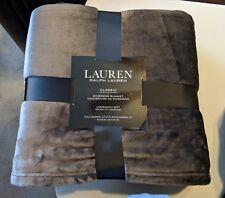 Ralph Lauren Blanket FULL QUEEN Micromink Classic Luxurious Plush 90x90 DarkGrey