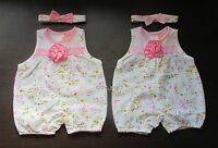 BABY GIRLS SUMMER ROMPER AND BOW HEADBAND SET ALL IN ONE FLORAL HOLIDAY OUTFIT